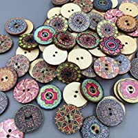 Bluelans® Pack of 100 PCS Assorted Retro Style Flower Buttons-Wood Buttons Sewing Scrapbooking 2 Holes
