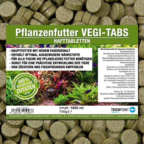 Vegi-Tabs PREMIUM Pflanzenfutter Hafttabletten (Hauptfutter für alle Pflanzen und Algen fressende Zierfische in Tablettenform) - Haft Futtertabletten im 1 Liter Beutel