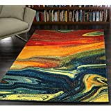 "A2Z Rug Modern Colourful Contemporary Design Area Rugs Rio Collection 5707, Multi 160x230 cm - 5'2""x7'5"" ft"
