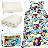 Kinder Bettwäsche Set Steppbett Kopfkissen und Bezüge Bettset Komplettset Disney Jake und die Nimmerland Piraten