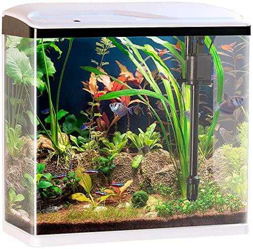 Sweetypet Aquarien Komplettsets: Nano-Aquarium-Komplett-Set mit LED-Beleuchtung, Pumpe & Filter, 40 l (Aquarium-Becken) (40 Liter-filter)