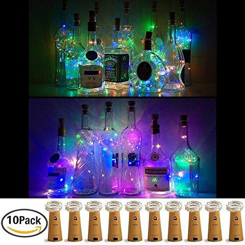 Weinflasche Lichter mit Kork, 10er Batterie betrieben LED Kork Form Silber Kupferdraht bunte Fee Mini Lichterkette für DIY, Party, Dekor, Weihnachten, Halloween, Hochzeit (Verschiedene Farbe) …