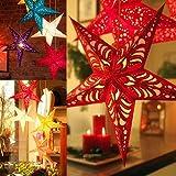 ILOVEDIY Weihnachten Sterne hängen Anhänger Dekoration für Weihnachtsbaum, Fenster, Wand, Zimmer (Rot)