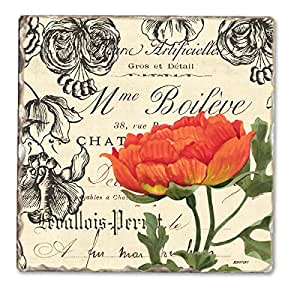 Vintage floral Single Trommelstein Tile Untersetzer