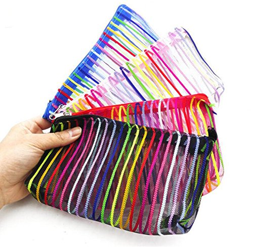 Regenbogen Farbe 5 Stk Mesh Streifen Bilden Kosmetik Tasche 10x19cm Reise Waschen Tasche Toilettenartikel Reißverschluss Tasche Veranstalter Bleistift Tasche Beutel Farbe Zufällig