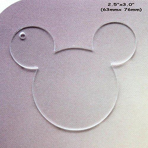 100/viel blanko klar Acryl Maus Kopf Charms, Plexiglas Laser geschnitten blanko Schlüsselanhänger Halskette DIY Zubehör 1/20,3cm Stärke 7,6 cm