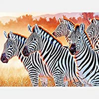 XDXART DIY 5D Diamond Painting by Number Kit, Full Drill Cross Stitch Kit Craft Wall Stickers for Living Room Decoration,Zebras on The Prairie(30X40CM/12X16inch)