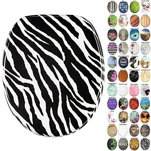 Neue Zebra (WC Sitz, viele neue WC Sitze zur Auswahl, hochwertige Oberfläche, stabile Scharniere, leichte Montage (Zebra))