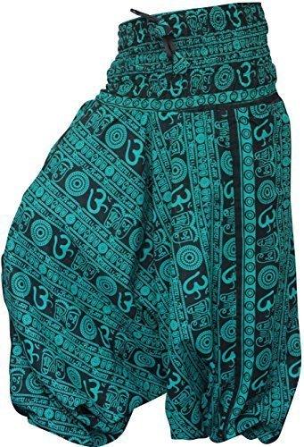 shopoholic FASHION OM stampa vestibilità larga Harem Pantaloni, great comfort pantaloni da yoga, hippy Verde