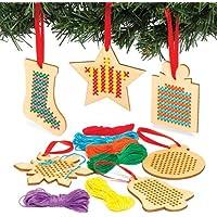 Baker Ross - Kits de Adornos de Punto de Cruz de Madera Que los niños Pueden Crear, exhibir y Colgar por Navidad - Actividad de Manualidades Creativas para pequeños Principiantes (Pack de 6)
