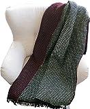 Roros Tweed: Schwarz-mint-dunkelrote Wolldecke 'Lofoten' 100% norwegische Lambswool, ca 150 cm x 200 cm