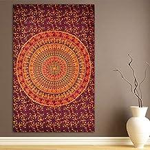 Elephant & Camel Tapestry, Indian Hippie Wall Hanging , Bohemian Bedspread, Mandala Cotton Dorm Decor Beach Blanket by Marubhumi