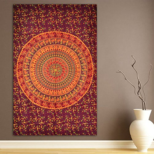 Elephant & Camel Tapestry, Indian Hippie Wall Hanging , Bohemian Bedsp