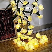 Guirlande Lumineuse Pile LED avec 20 Fleurs Rose Eclairage de Décoration pour Guinguette,Chambre, Jardin, Mariage, Fête,Fenêtre,Bar, (20 LED Blanc Chaud)