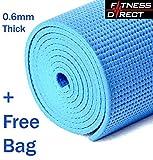 Fitness Direct Pvc Yoga Thick Mat Exercise Training Pilates Gym Physio + FREE BAG