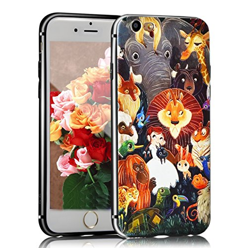 Coque iPhone SE, Sunroyal® iPhone SE 5 5S Coque de Protection Housse Etui TPU Transparent Souple Case Cover Shock-Absorption Bumper et Anti-Scratch Effacer Premium Gel Silicone Couvrir Coverture Shell Animals