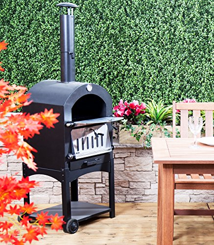 Fire Mountain Outdoor Wood or Charcoal Pizza Oven in Steel with Barbecue Grill, Free 9