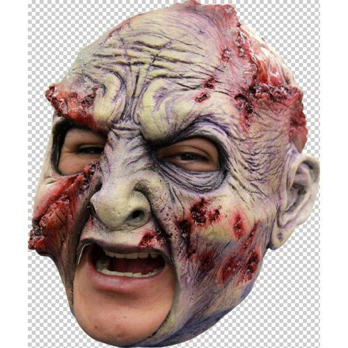 Kostüme Ghoulish (Zombie Verrottete Maske Kopf Kinnriemen Latex Kostüm Halloween Erwachsene)