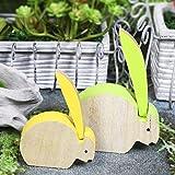 Valery Madelyn mide 14.5 cm / 11.3 cm Conjunto de 2 Primavera suave de Pascua Conejo de Pascua Decoración de mesa de madera extraíble Decoración de jardín Estatuilla de Bunny Deco con pintura Marrón Verde Amarillo