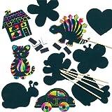 Baker Ross Imanes de Siluetas para Rascar Manualidades Creativas Scratch Art Perfectas como Decoraciones Personalizadas y Actividades de Fiestas Infantiles (Pack de 10)