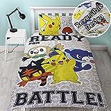 Neuf 100% officiel Pokémon déplacement, Gotta Catch EM All Disponible en simple et double Housse de couette Parure de lit pour enfants/pour enfants, Single Grey