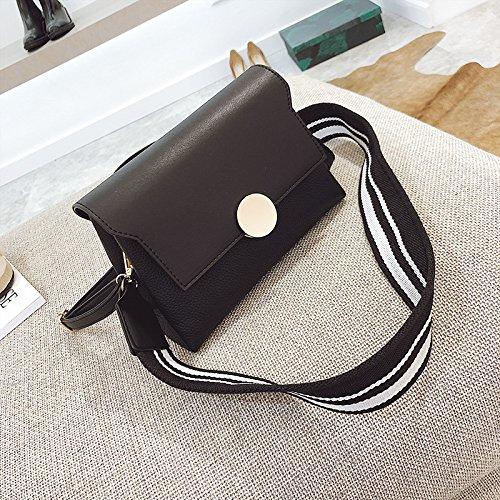 GUANGMING77 Unica Borsa A Tracolla _ Spalline Larghe Colore Busta Doppia Piccola Donna Spalla,Rosa black