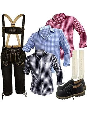 Trachtenset Lederhosenanzug Trachten Combi Anzug+Hemd+Schuhe+Socken+Hose+Wildleder Oktoberfest Schwarz