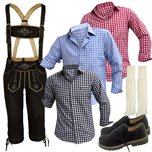 Trachten-Set für Herren 5-teilig Echte Bock-Lederhose (Kniebund, braun mit uriger Stickerei), Shirt + Lederschuhe. Moderne Leder-Hosen-Tracht für Männer zum Oktoberfest(50)
