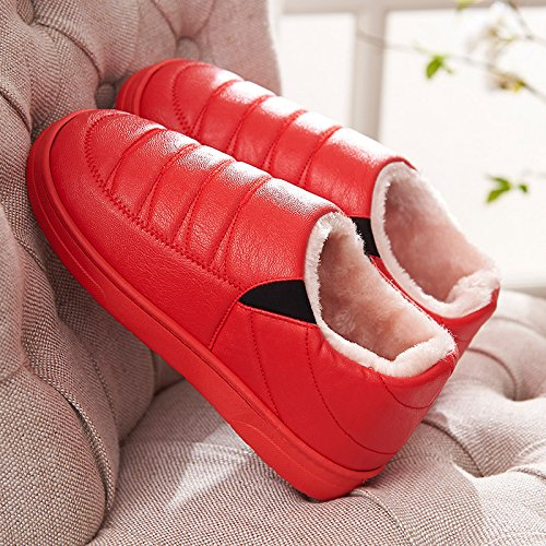 Aemember Automne Et Hiver Hommes Pantoufles De Coton Et Une Paire De Pu Maison Intérieure Anti-dérapant Meubles Chauds Avec Faible Épaisseur De Gueules