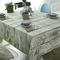 Comedor Mantel BEICHEN Retro Mantel de algodón y lino suave Grano de madera Simulación Bark Dustcloth Tela de fondo de fotografía (200*140cm(79*55inch))