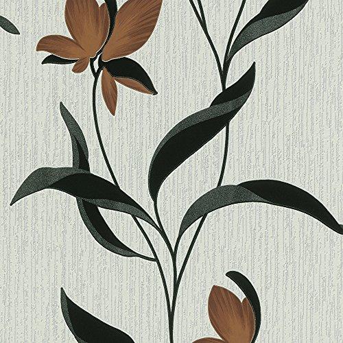 brown-carta-da-parati-motivo-floreale-con-foglie-9730-11-colore-nero