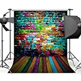 Mehofoto Colorful Brick Wall Backdrop 5x7ft Wooden Floor Graffiti Wall Photography Background Seamless Photo Studio Props