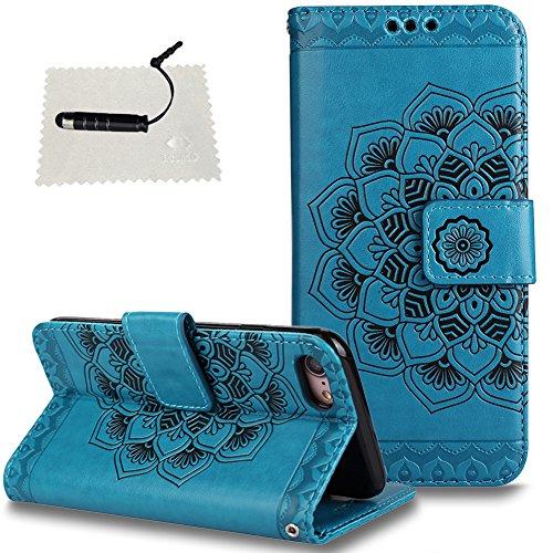 """TOCASO TOCASO iPhone 7/8 4.7"""" Hülle Rot Mandala Blumen, Handyhülle Flip iPhone 7/8 4.7"""" Handytasche Klapphülle Wallet Case Ständer und Kartenfächer Magnet Schale -Mandala Blau"""