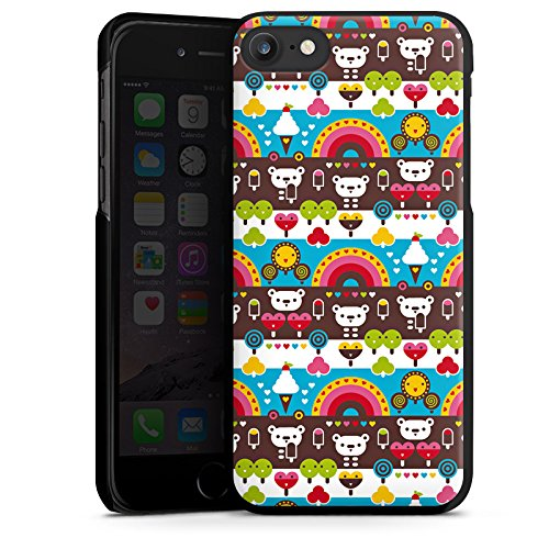 Apple iPhone X Silikon Hülle Case Schutzhülle Regenbogen Herzen Süßigkeiten Hard Case schwarz