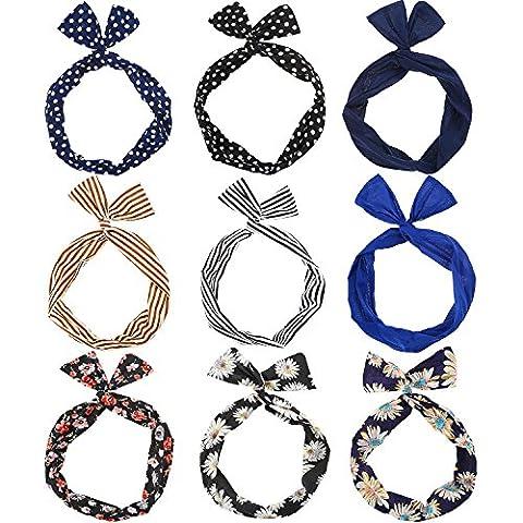 Hicarer 9 Stück Draht Stirnband Haarzubehör Mehrfarbig Stirnband für Damen und Mädchen (Muster Draht)