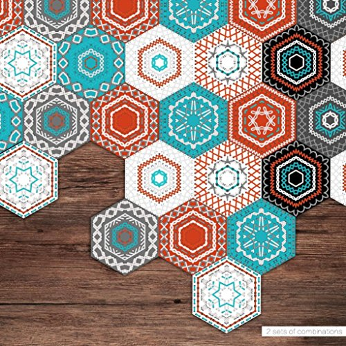 Momola 1 Set/10 Pieces 23 x 20cm Self Adhesive Waterproof 3D Honeycomb Tile Art Wall Decal Sticker DIY Kitchen Bathroom Floor Home Room Decor Vinyl Wallpaper Roman Style (B)