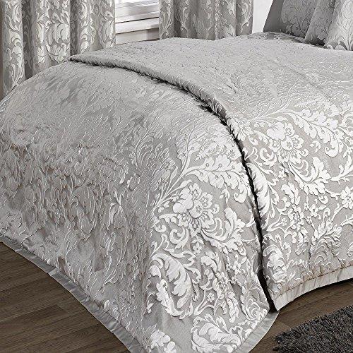 KLiving Bettwäsche-Set Charleston Grau luxuriöse Jacquard Bettwäsche Bettbezug Tagesdecke Boudoir Kissenbezug Vorhänge, 100% Polyester / 50% Baumwolle / 50% Polyester / Baumwolle / Polyester, grau, 90