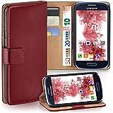Samsung Galaxy S3 Mini Hülle Dunkel-Rot mit Karten-Fach [OneFlow 360° Book Klapp-Hülle] Handytasche Kunst-Leder Handyhülle für Samsung Galaxy S3 Mini S III Case Flip Cover Schutzhülle Tasche