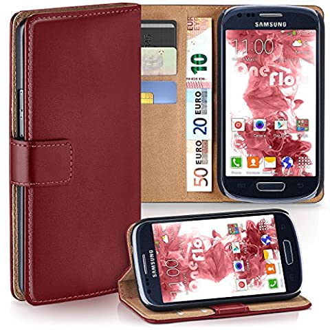 Samsung Galaxy S3 Mini Hülle Dunkel-Rot mit Karten-Fach [OneFlow 360° Book Klapp-Hülle] Handytasche Kunst-Leder Handyhülle für Samsung Galaxy S3 Mini S III Case Flip Cover Schutzhülle