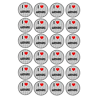 I Love Aardvarks - 24 Stickers - Fun Gift - Kids - Adults - Birthday - Christmas - Stocking Filler - Reward Stickers - Party Bag Fillers