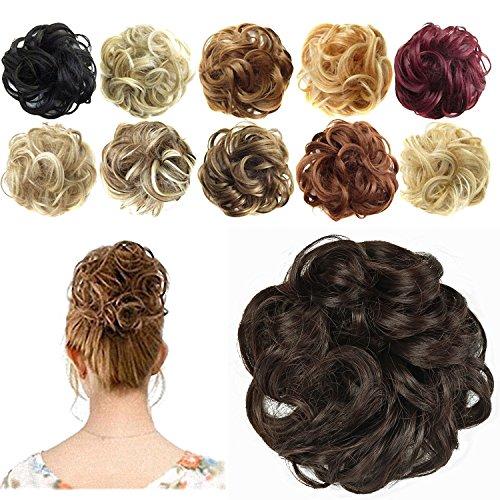 FESHFEN – Haargummi-Haarteil, für Haarknoten/Pferdeschwanz, Haar-Extensions, gewellt, unordentlicher Haarknoten, Dutt, Perücke, tiefschwarz