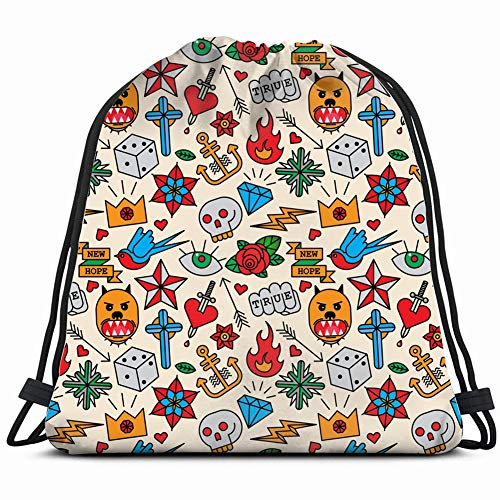 Tattoo Signs Symbols Drawstring Backpack Gym Sack Lightweight Bag Water Resistant Gym Backpack for Women&Men for Sports,Travelling,Hiking,Camping,Shopping Yoga ()