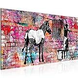 Bilder Banksy Washing Zebra Wandbild 100 x 40 cm Vlies - Leinwand Bild XXL Format Wandbilder Wohnzimmer Wohnung Deko Kunstdrucke Bunt 1 Teilig -100% MADE IN GERMANY - Fertig zum Aufhängen 012912c