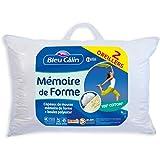 Bleu Câlin Lot de 2 Oreillers Rectangulaires Mémoire de Forme, Blanc, 50x70 cm, OMFW