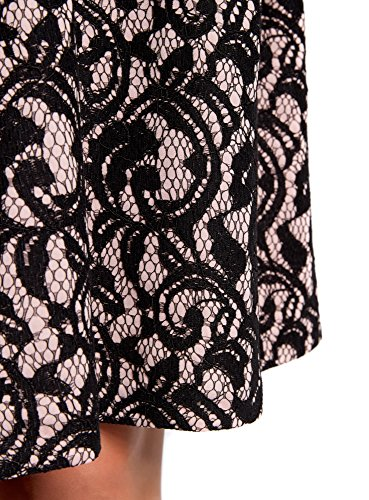 oodji Collection Donna Gonna in Pizzo con Cintura Elastica Decorativa Nero (294BL)