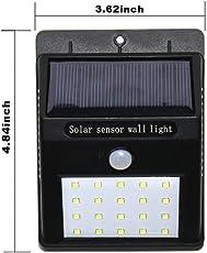 MW Mall India Brass 20 LEDs Bright Waterproof Solar Wireless Security Motion Sensor Night Light or Outdoor/Garden Wall (White, Solar Sensor Light)
