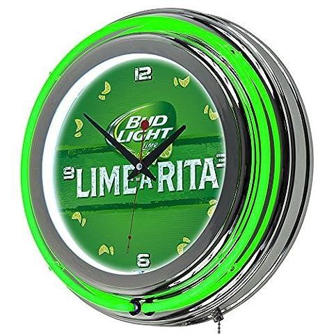 Trademark Gameroom Bud Light Lime-A-Rita Chrome Double Ring Neon Clock by Trademark Global - Bud Light Neon