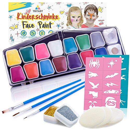 Profi Kinderschminke Set 42 Teile | wasserlösliche Schminkfarbe | GRATIS Schwämme von Tritart