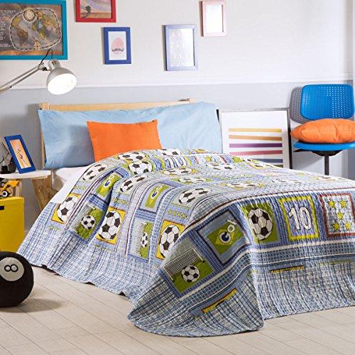 Sancarlos- Colcha Bouti SOCCER, diseño infantil, 100% Poliéster, Cama de 90 cm