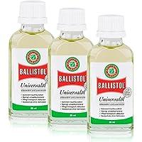 BALLISTOL Lot de 3 bouteilles en verre de 50 ml, huile de soin universelle.